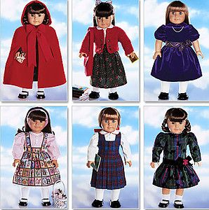 18 DOLL CAPE HOOD PARTY DRESS SWEATER TIGHTS SEWING PATTERN Butterick