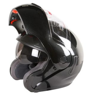 Carbon Fiber Look Dual Visor Modular Motorcycle Helmet Dot Size s M L