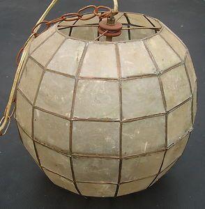 Vintage Mid Century Capiz Shell Chandelier Lamp Pendant Swag