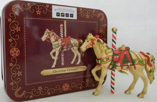 Christmas Carousel ORNAMENT New In Decorative Tin Complete Enesco
