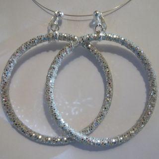 Clip on 3Silver Sequin Non Pierced Large Hoop Earrings J400 Juicebox