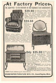 1905 Grand Rapids Furniture Co Rocker Dresser Buffet Ad