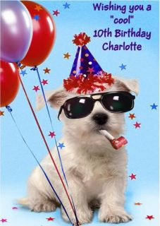 Personalised Birthday Card Funny Dog Boy or Girl