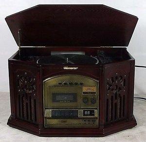 9208M Wood Phonograph/Record w/AM/FM Radio, Cassette & CD Player