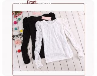 New Womens See Through Lace Sleeve T Shirts Tops Blouse