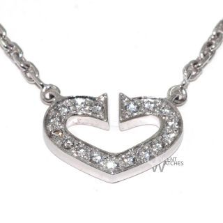 3700 Cartier C Heart Diamond Pendant 18K White Gold Chain Necklace