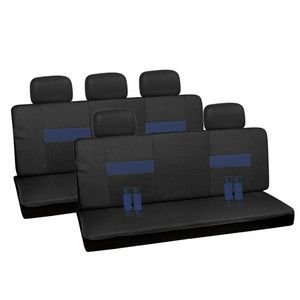 Blue and Black with Seat Belt Pads 2 Two Bench Row Car Seat Covers