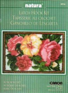 Caron Natura Latch Hook Kit 40 x 27 Rose Bouquet Rug Sale 916