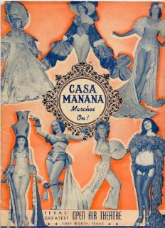 Casa Manana Marches on Souvenir Program 1930s Fort Worth Texas Martha