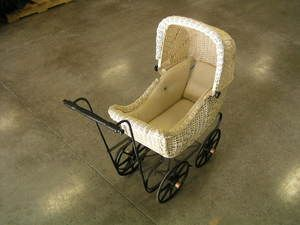 Vintage Antique Baby Doll Wicker Carriage