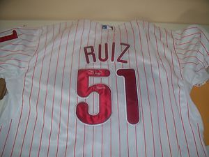 Carlos Ruiz Phillies Signed Home Jersey COA Chooch Inscription