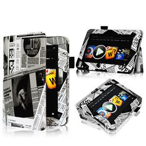 Newspaper Stylish Folio Case Smart Cover F Kindle Fire HD 7 Tablet