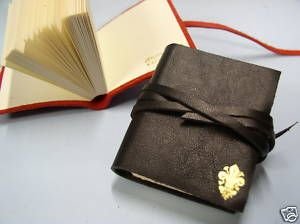MINI LIBRO Pelle leather Florentine Journal NERO Made in ITALY