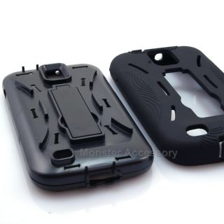 black double layer kickstand hard case cover for samsung galaxy s 2