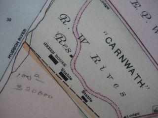 1891 Hudson River Map Dutchess County New York Wappingers Falls Orange
