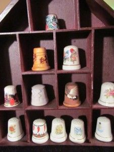 Lot 12 Collectors Thimbles + Display Case, Vintage Unknown Cloisonné