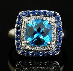levian blue topaz sapphire diamond 18k gold ring