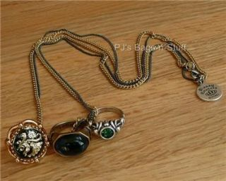 Disney Couture Pirates of Caribbean Three 3 Rings Necklace Skull New
