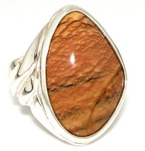 Relios Carolyn Pollack Sterling Silver 925 Grooved Jasper Agate Ring