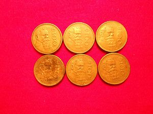 LOT OF SIX $100 PESO V. CARRANZA MEXICAN COINS THREE 1984 TWO 1985 ONE
