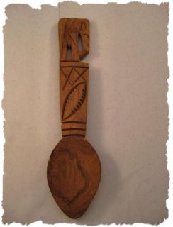 Wooden Wood Hand Carved African Elephant Spoon Decor