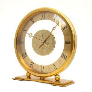 RARE Big Size Hour Lavigne Gilt Bronze Desk Clock 1950s 8 Day Angelus