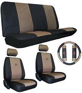 Tan Black Racing Car Seat Cover Sport Jersey 9 Pce Pkg A