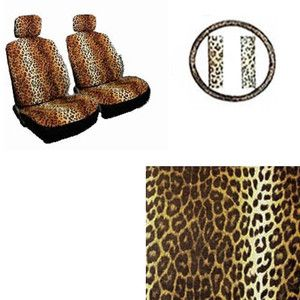 7pc Beige Tan Leopard Cheetah Front Bucket Car Seat Covers Steering