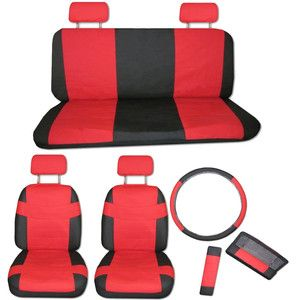 Faux PU Leather Truck Car Seat Covers 11 Pcs Set Superior Red Black