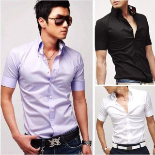 New Mens Luxury Stylish Casual Dress Slim Fit Shirts Short Sleeve