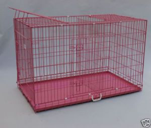 54 3DOOR Folding Dog Cat Crate Cage Kennel w Divider P