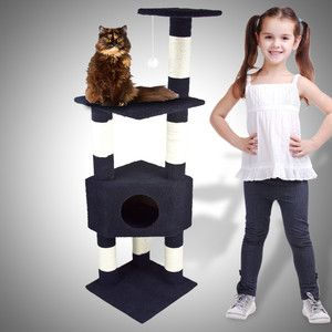 Deluxe 53 Cat Tower Tree w Condo Scratcher Furniture Kitten House Navy