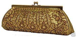 Carlo Fellini Amaryllis Antique Gold Clutch Beaded Evening Handbag