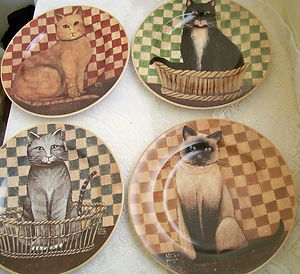 KITTY CAT STONEWARE SALAD GLASS PLATES DAVID CARTER BROWN COLLECTION