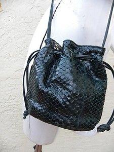 Carlos Falchi Green Snake Skin Pouch Crossbody Shoulder Bag