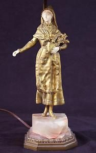 Antique French George Omerth Carved Ivory Gilt Dore Bronze Sculpture