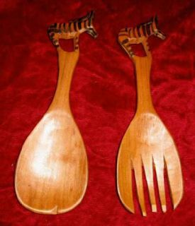 Zebra Animal Wooden Hand Carved Salad Spoon Fork Teak