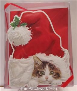Carol Wilson Christmas Boxed Greeting Cards Kitty Cat and Santa Hat 15