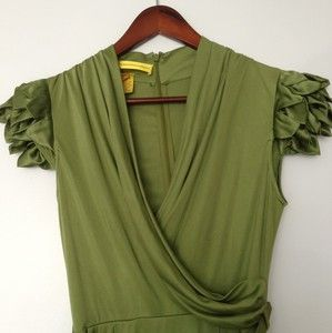 Catherine Malandrino Dress Green Knee Length Short Sleeve 100 Silk