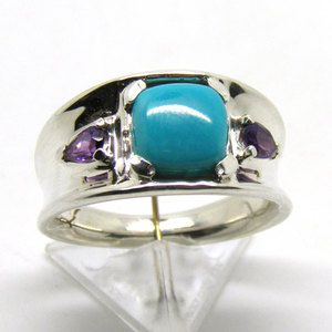 Carolyn Pollack Sleeping Beauty Turquoise Amethyst Sterling Ring Sz 7