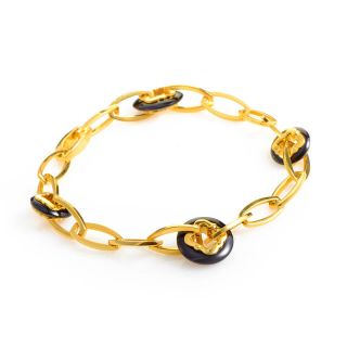 Carrera Y Carrera 18K Yellow Gold Onyx Link Bracelet