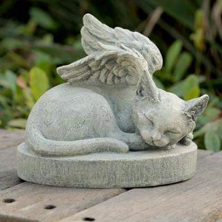 Cat Angel Wings Stone Pet Memorial Outdoor Statue Patio Garden Yard