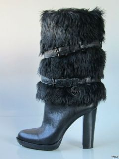 New Michael Kors Carlie Black Fur Strappy Boots Shoes