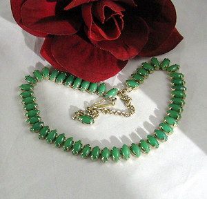 Prong Set Green Faux Stone Gold Tone Necklace Cat Rescue