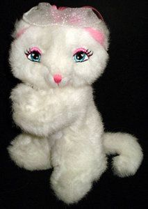 Small Barbie White Plush Kitty Cat Spring Paws 7 Inches