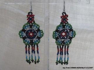 Huichol Indian Earrings Beaded Peyote Flower Jalisco Mexico New