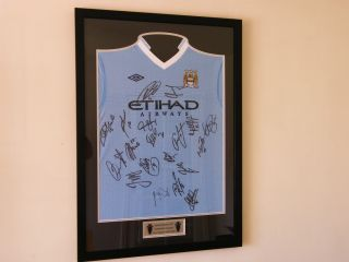 Manchester City Squad Signed Framed Shirt Autographs x19 League