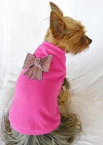 New Dog Cat Clothing Dark Pink Tee Shirt 100 Cotton Bling Bow Pink XS