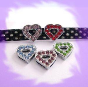 50pcs 10mm Heart Slide Charms Pet Dog Cat Collar