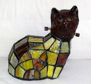 Cat Figurine Lamp Shade with Slag Stained Glass Body Bronze Head